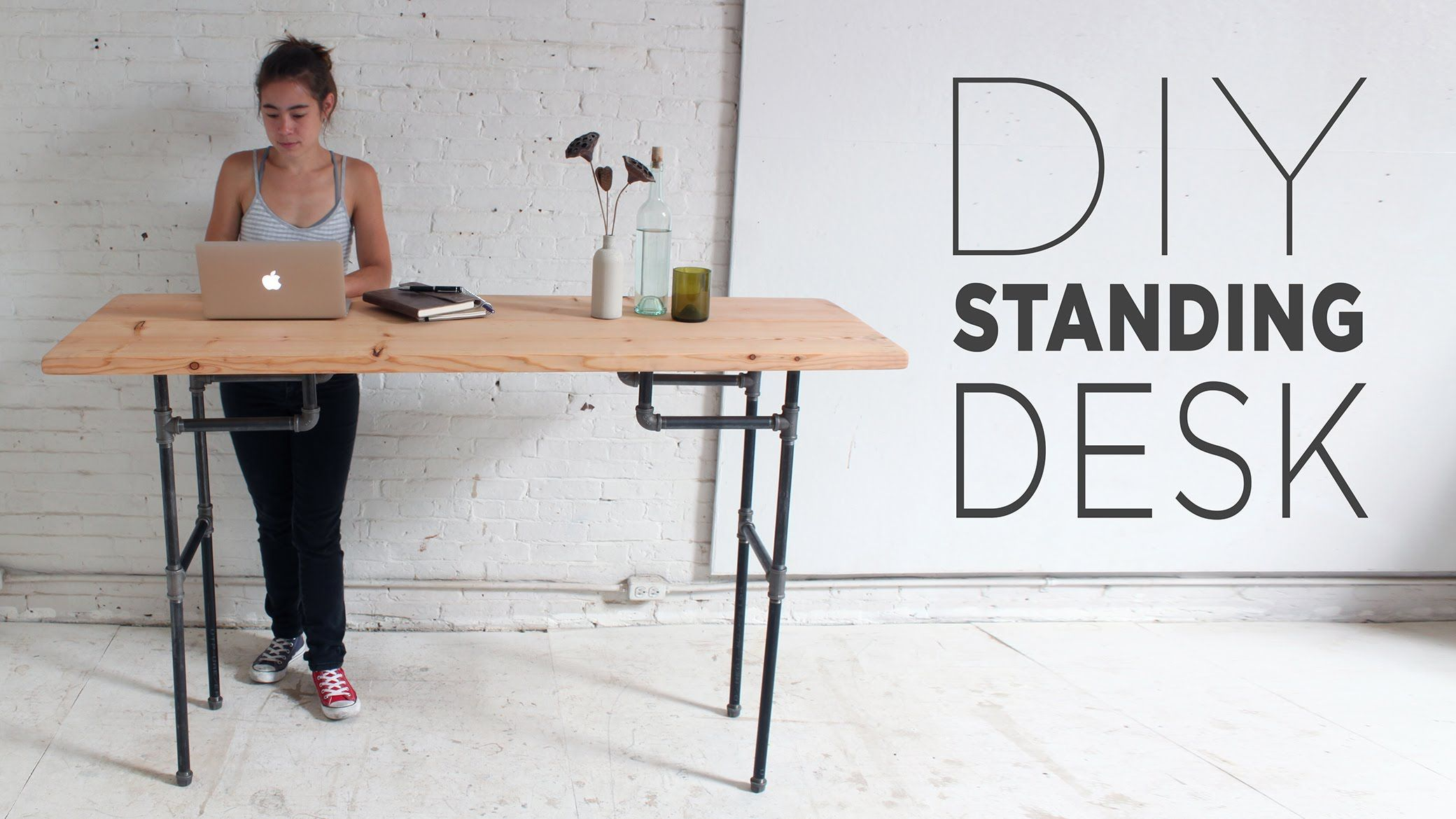 Build A Standing Desk That Converts To A Work Table Diy Standing Desk Standing Desk Plans Standing Desk Design