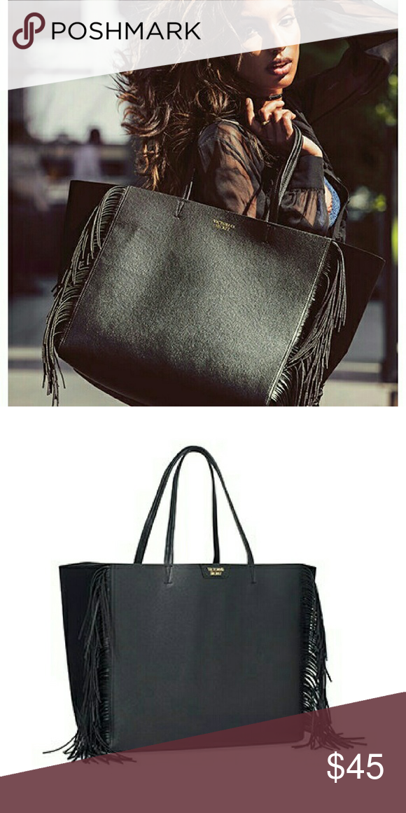 b5a1904fa09e VS Black Fringe Tote VS Black Fringe Tote. New in package. L 23.5 W 7 H 13  No Trade or PP Bundle Discount Offers considered Victoria's Secret Bags  Totes