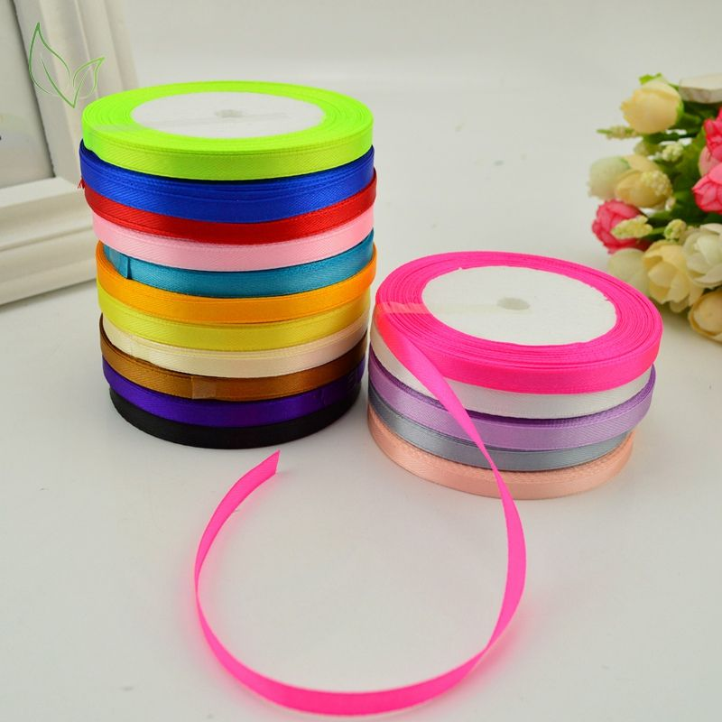 New 25 Yards 6mm Silk Satin Ribbon DIY Handmade Craft Xmas Party Wrapping Decor