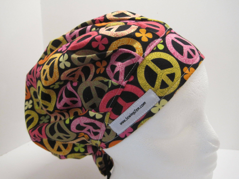 Bouffant scrub hats OR nurse scrub hats peace sign scrub hats PEACE fabric scrub hats ER nurse scrub hats bouffant hats
