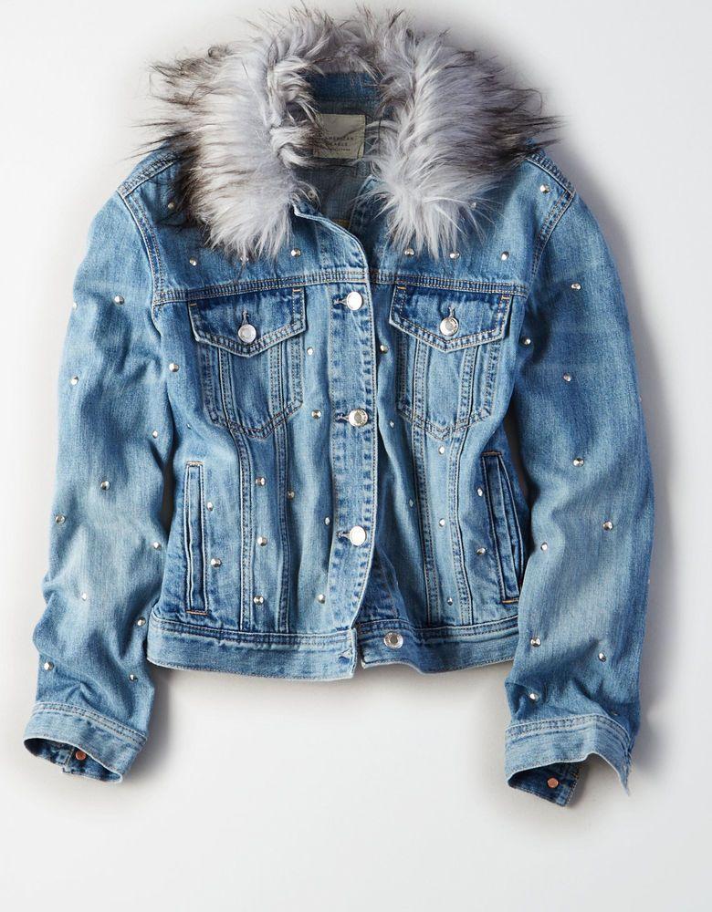 cb89b7352ee3 American Eagle Women s Bling Studs Denim Faux Fur Collar Jean Jacket Coat S  NWT  AmericanEagleOutfitters  JeanJacket