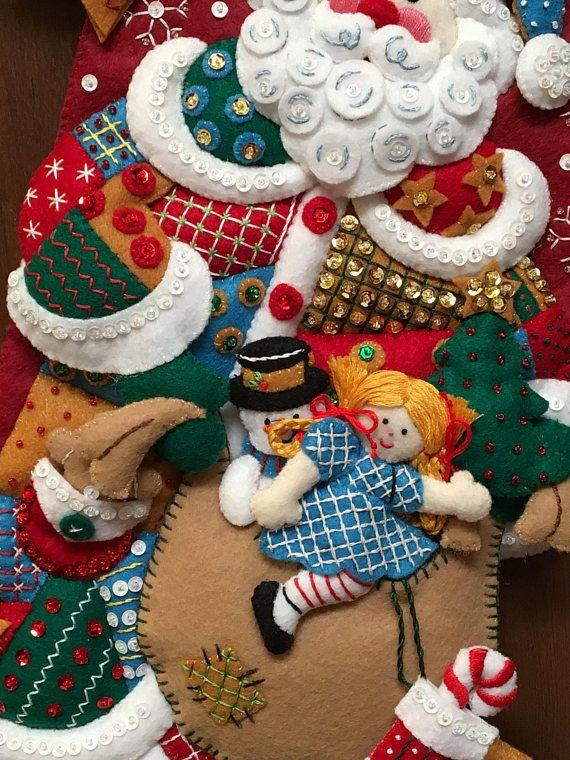 Bucilla Patchwork Santa Felt Stocking   chumi   Pinterest   De la ...