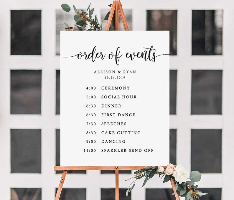 Order Of Events Sign Wedding Timeline Template Wedding Day Etsy In 2020 Wedding Timeline Template Wedding Timeline Wedding Itinerary