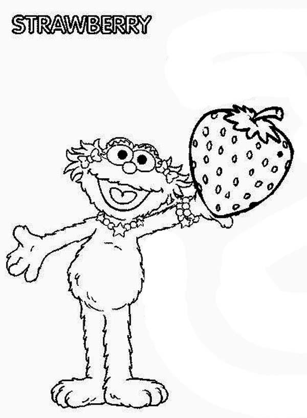 Zoe With Sweet Strawberry In Sesame Street Coloring Page Color Luna Sesame Street Coloring Pages Coloring Pages Sesame Street