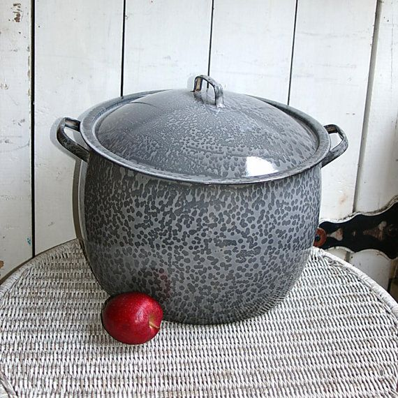 Late 1800s Large Gray Agateware Graniteware Stock by KickassStyle, $55.00