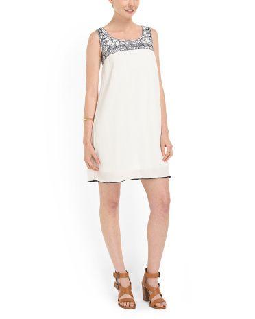 Crinkle Gauze Embroidery Dress