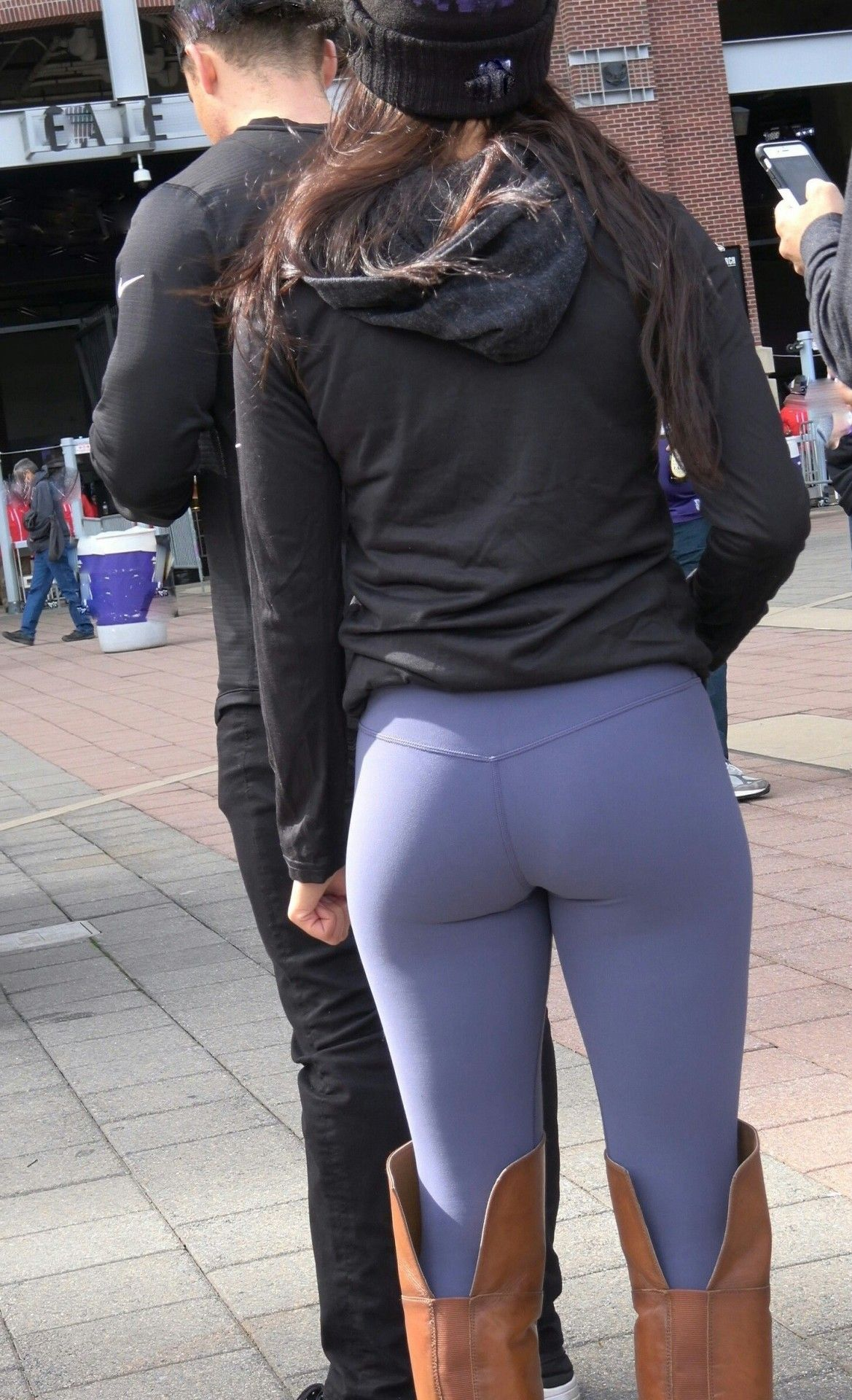 Candid Babe Wearing Tight Blue Leggings With Over The Knee Boots Candid Creepshots