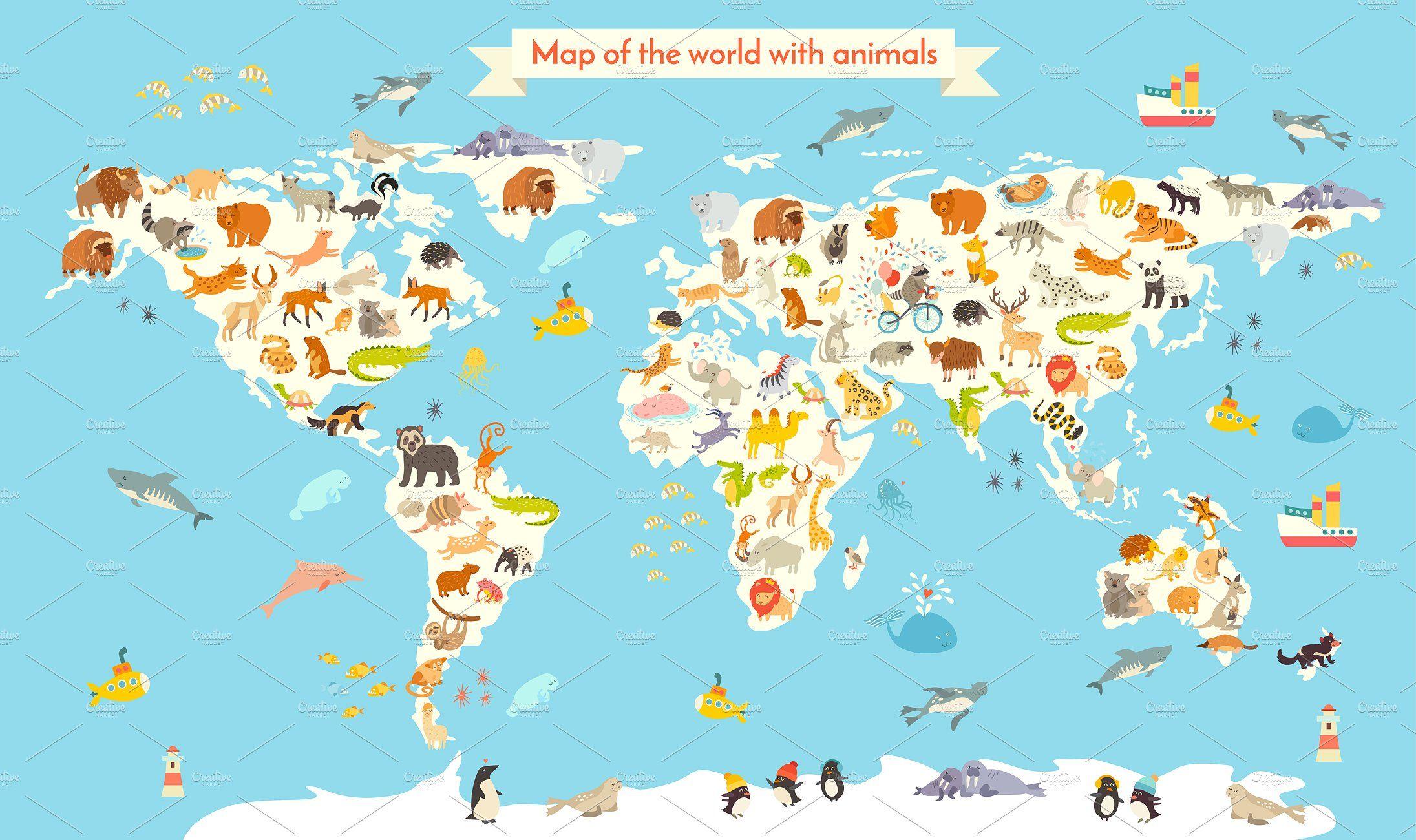 Animals world map Disney world map, Cartoons vector