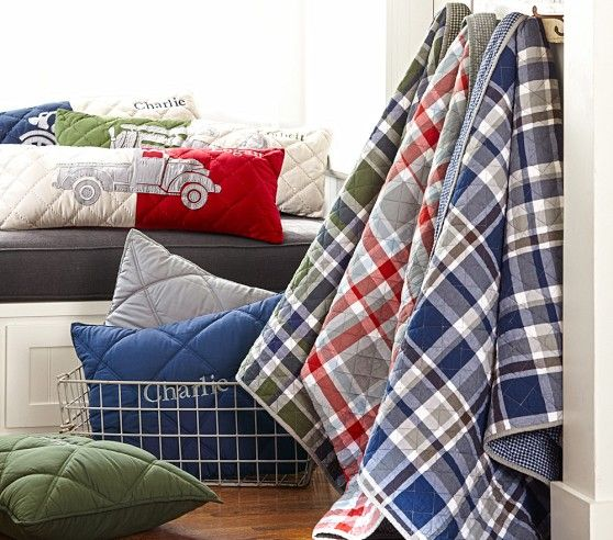 Pottery Barn Quinn Plaid: Charlie Plaid Quilted Bedding