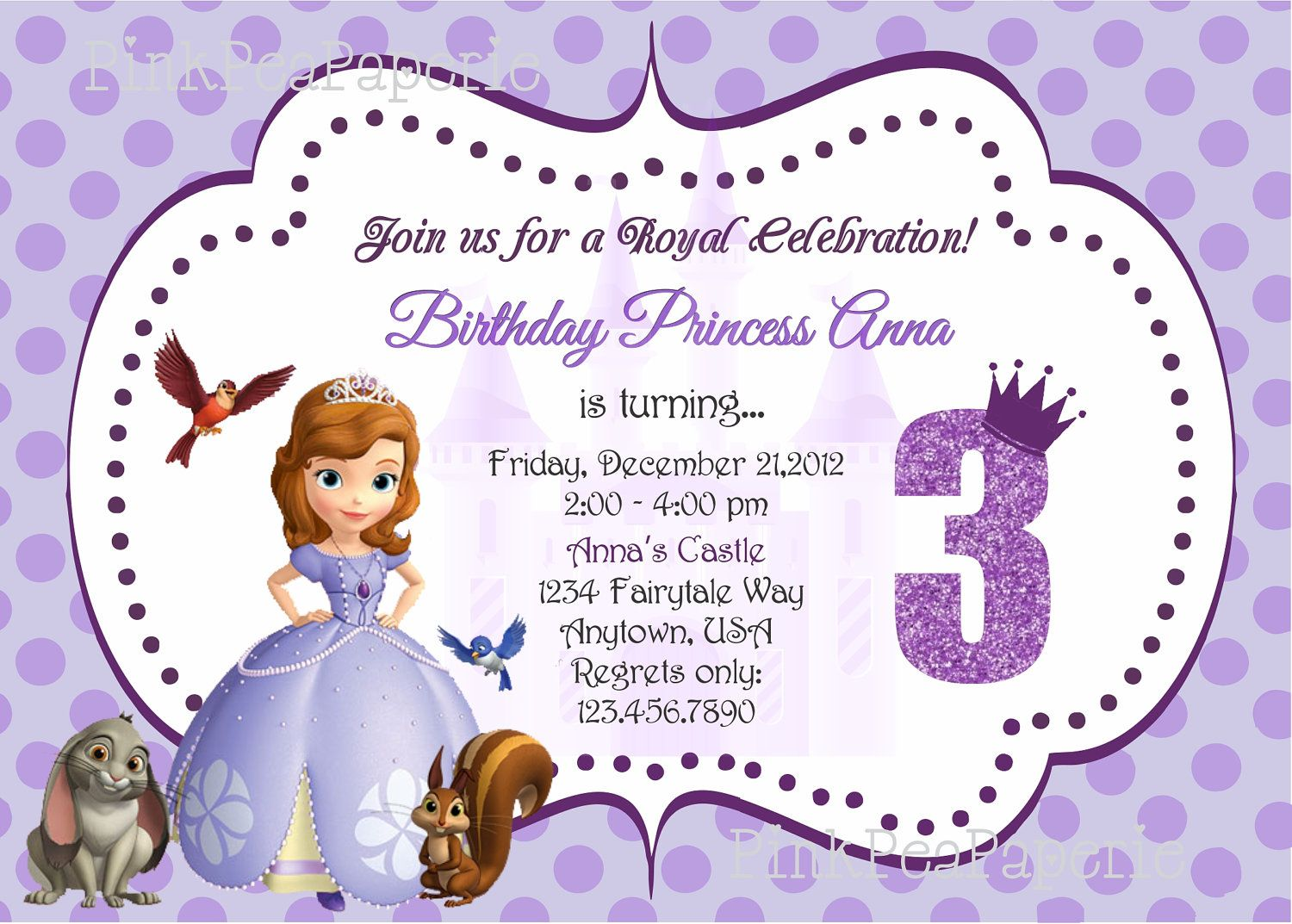 Custom Printable SOFIA THE FIRST Birthday Invitation. $8.00, via ...