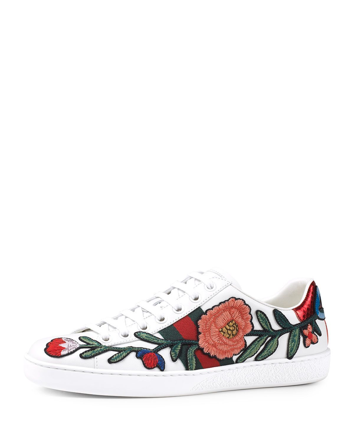 2636d477e Gucci New Ace Floral-Embroidered Low-Top Sneaker, White/Multi, Multi Colors