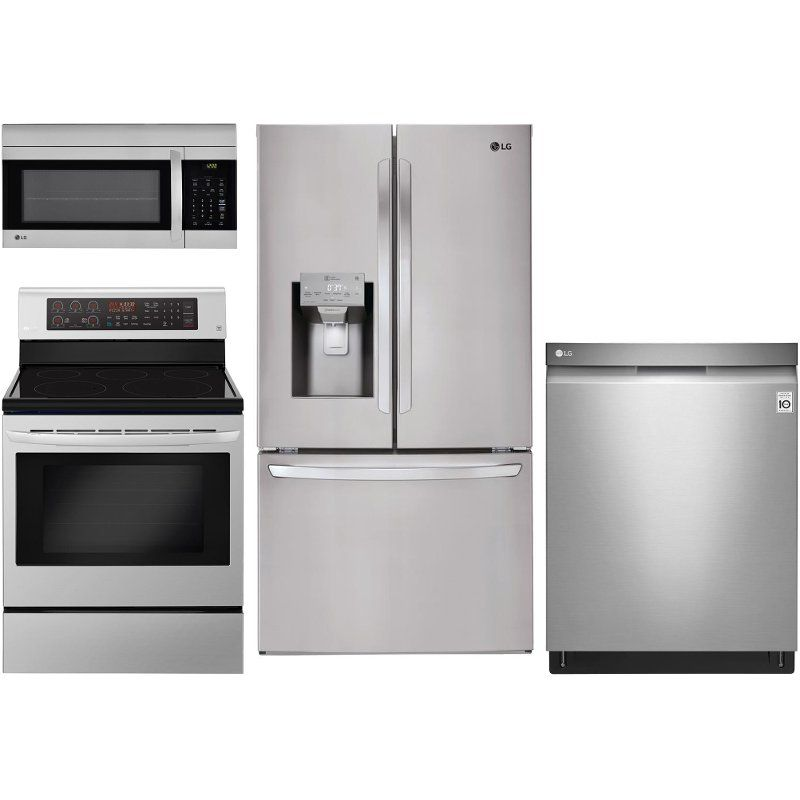 Lg 4 Piece Electric Kitchen Appliance Package With French Door