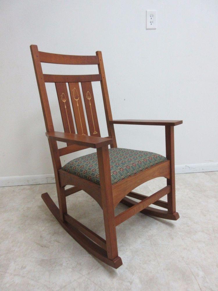 Cherry stickley harvey ellis inlay rocker rocking chair