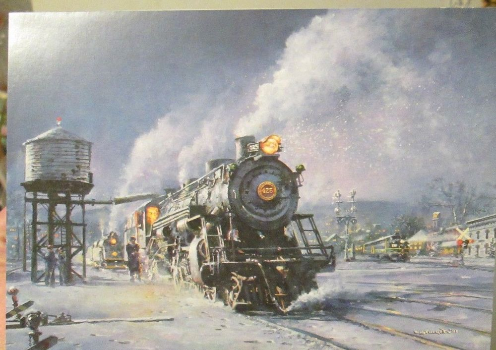4 Leanin Tree Christmas Cards Train stopping at Station in Snow Tony ...