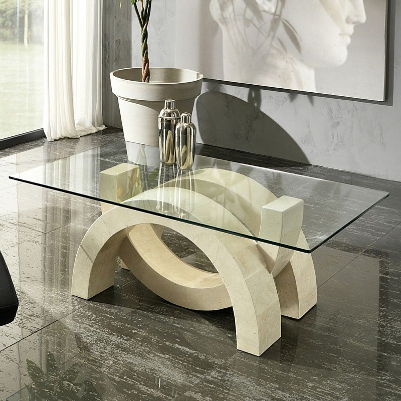 Modern Coffee Table Oympia By Stones Has Unique Fossil Stone Base Design This Outstanding Look Becom Unique Dining Tables Coffee Table Design Tea Table Design