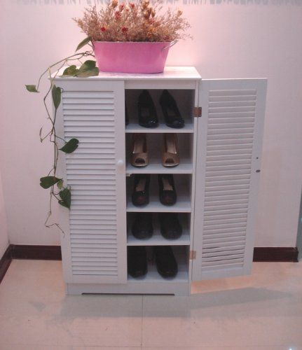 Wooden Shoe Cabinet With Double Louvered Doors White Hc 005