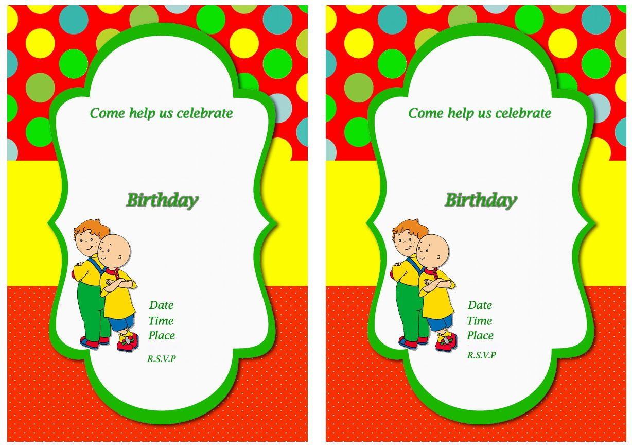 Caillou FREE Printable Birthday Party Invitations | Birthday Party ...