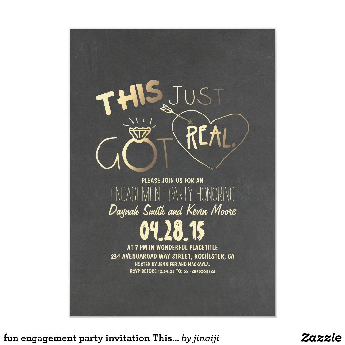 Fun Engagement Party Invitation This Just Got Real Zazzle Com Fun Engagement Party Engagement Party Invitations Fun Engagement