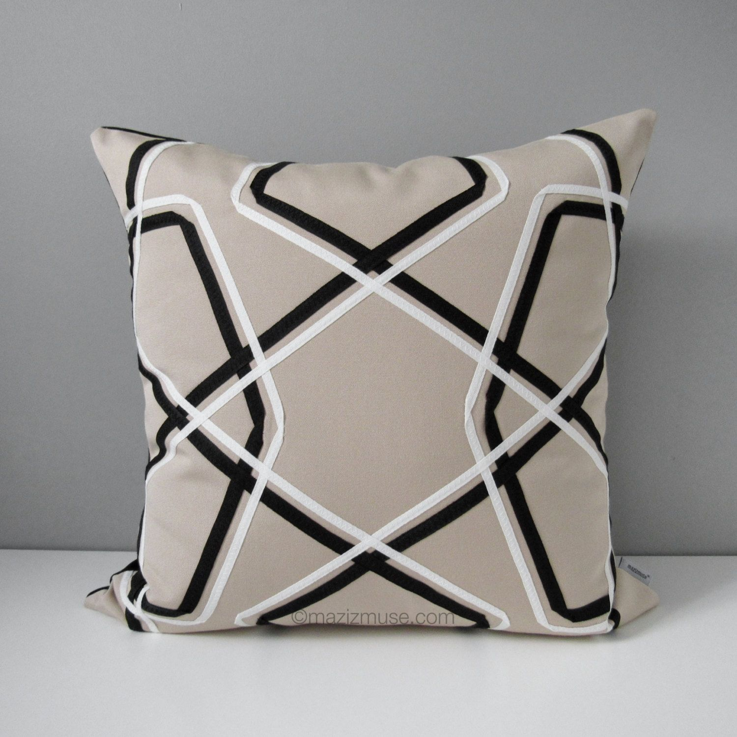 Geometric Outdoor Pillow Cover, Decorative Black White Pillow Cover, Modern Throw Pillow Cover, Masculine