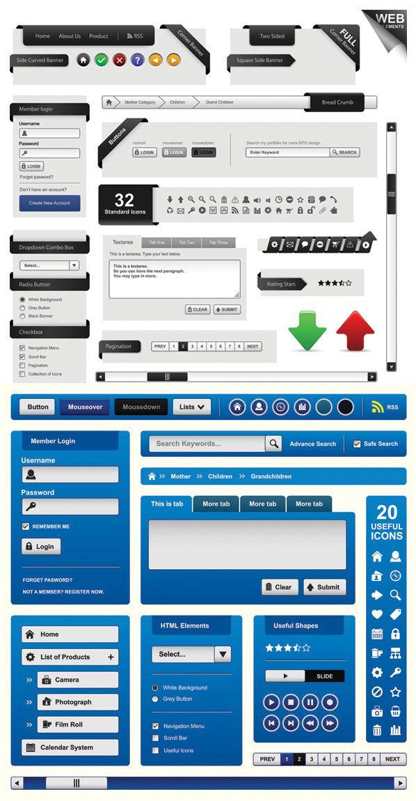 Web Page Design Elements Vector Page Design Banner Design Web Design