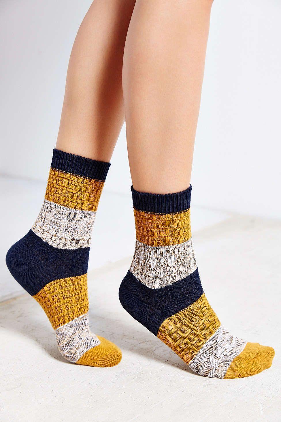 Multi-Texture Colorblock Crew Sock