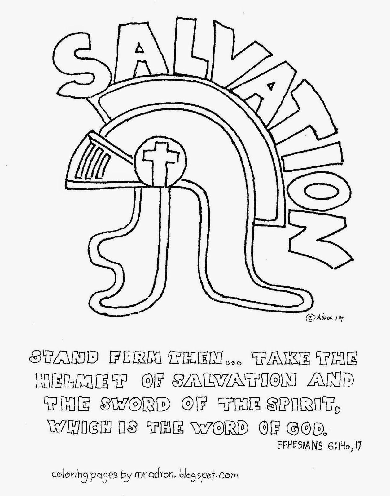 The Helmet Of Salvation Free Coloring Page Ephesians 6 17 Sunday
