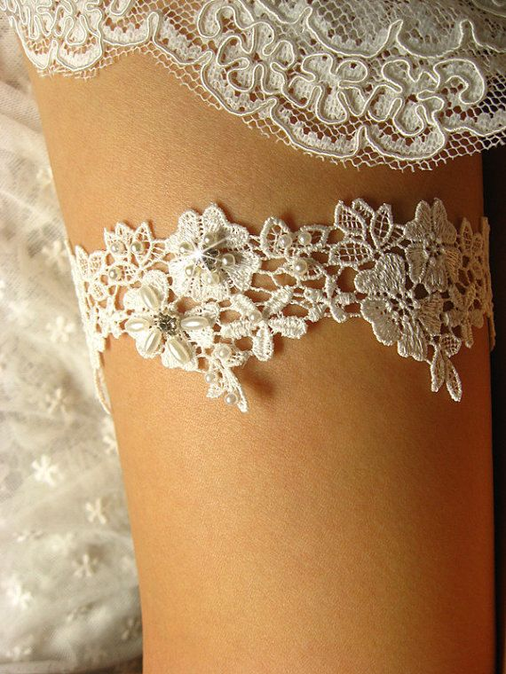 lace garter rosette garter wedding garter beaded garter lace bridal garter bride garter rhinestone beaded floral garter