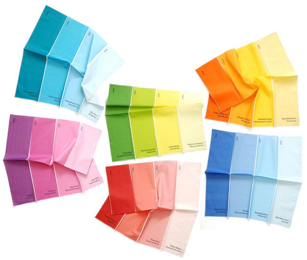 Napkins - Paint Chip Napkins - Set of 6 Colors - bright summer rainbow colours large size. $84.00, via Etsy.