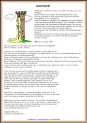 Rapunzel Fairy Tale ESL Reading Worksheet | Rapunzel story ...