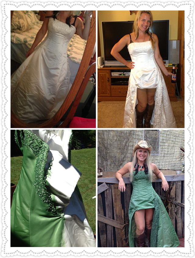 Repurposed wedding dress Celia & Sara Grigsby  Celia cut out all the layers of satin and tulle from the original dress. The train was cut off the back and an arc was cut in the front. She hemmed the dress and gathered it up in two spots in the front. We took a forest green acrylic paint and watered it down. We painted it onto the dress with soft brushes. We used about 2 coats and blended with the brush so there were no harsh water marks. This made such a fun party dress!