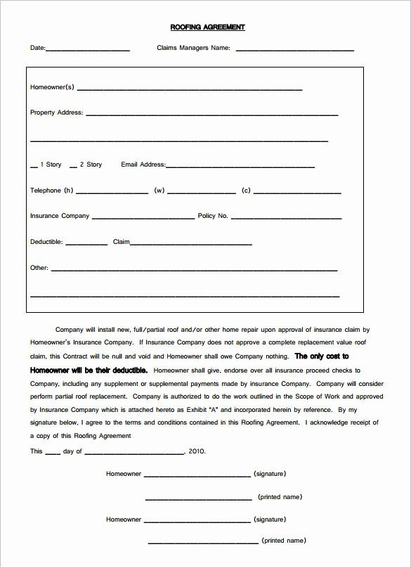 Free Roofing Contract Template Inspirational Roofing Agreement Forms 12 Roofing Contract Templates Free Roofing Contract Contract Template Proposal Templates