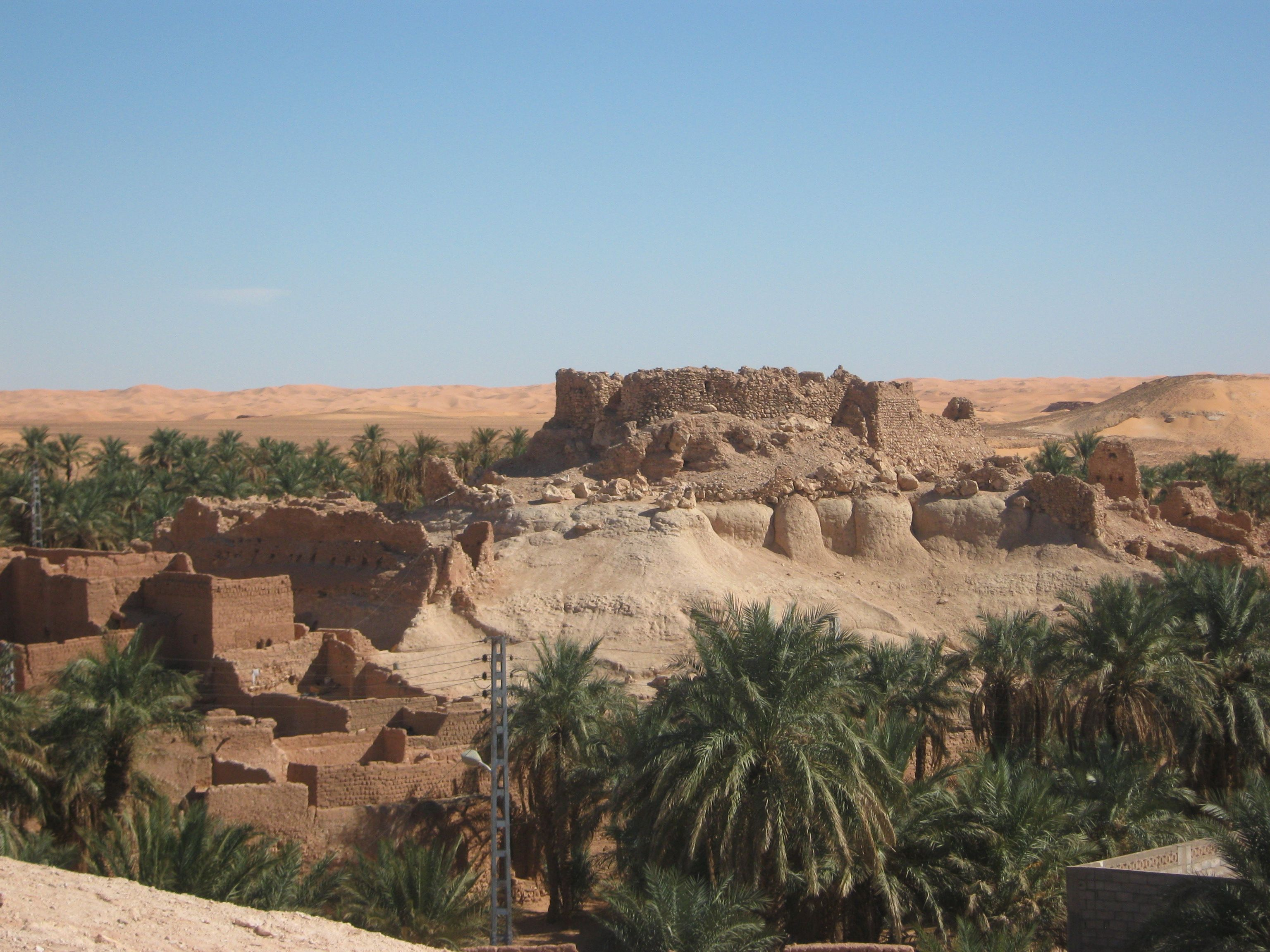 Town around ancient ruins near Charouine Algeria