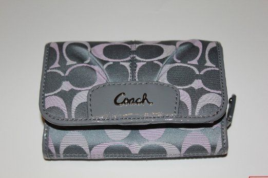 Price: $179.00| Coach Ashley 3 Color Signature Compact Clutch Wallet 46928 Grey Pink Multi  |