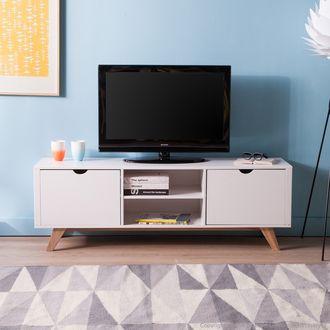Meuble TV bas en bois avec 2 portes et 2 niches L150cm PABLO ...
