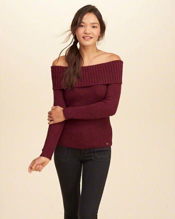 Off-The-Shoulder Ribbed Sweater | Big Idea - Sweaters (Holiday ...