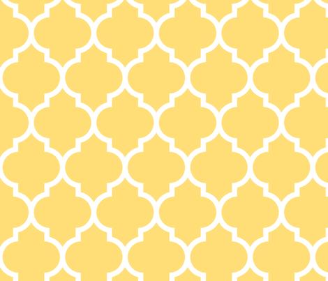 moroccan quatrefoil lattice in lemon yellow fabricspacefem on