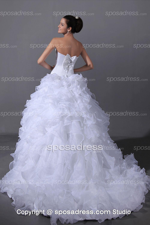 Glittering sweetheart ruffled organza ball gown wedding dress r
