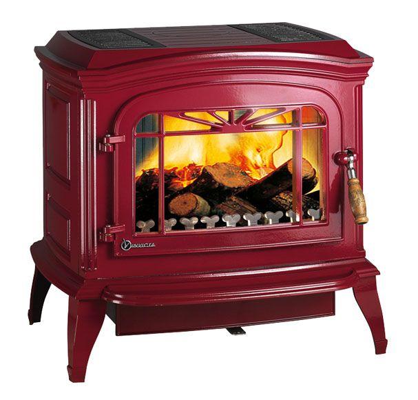 Estufa hierro fundido bradford roja tienda online leroy for Estufas de lena leroy merlin 2014
