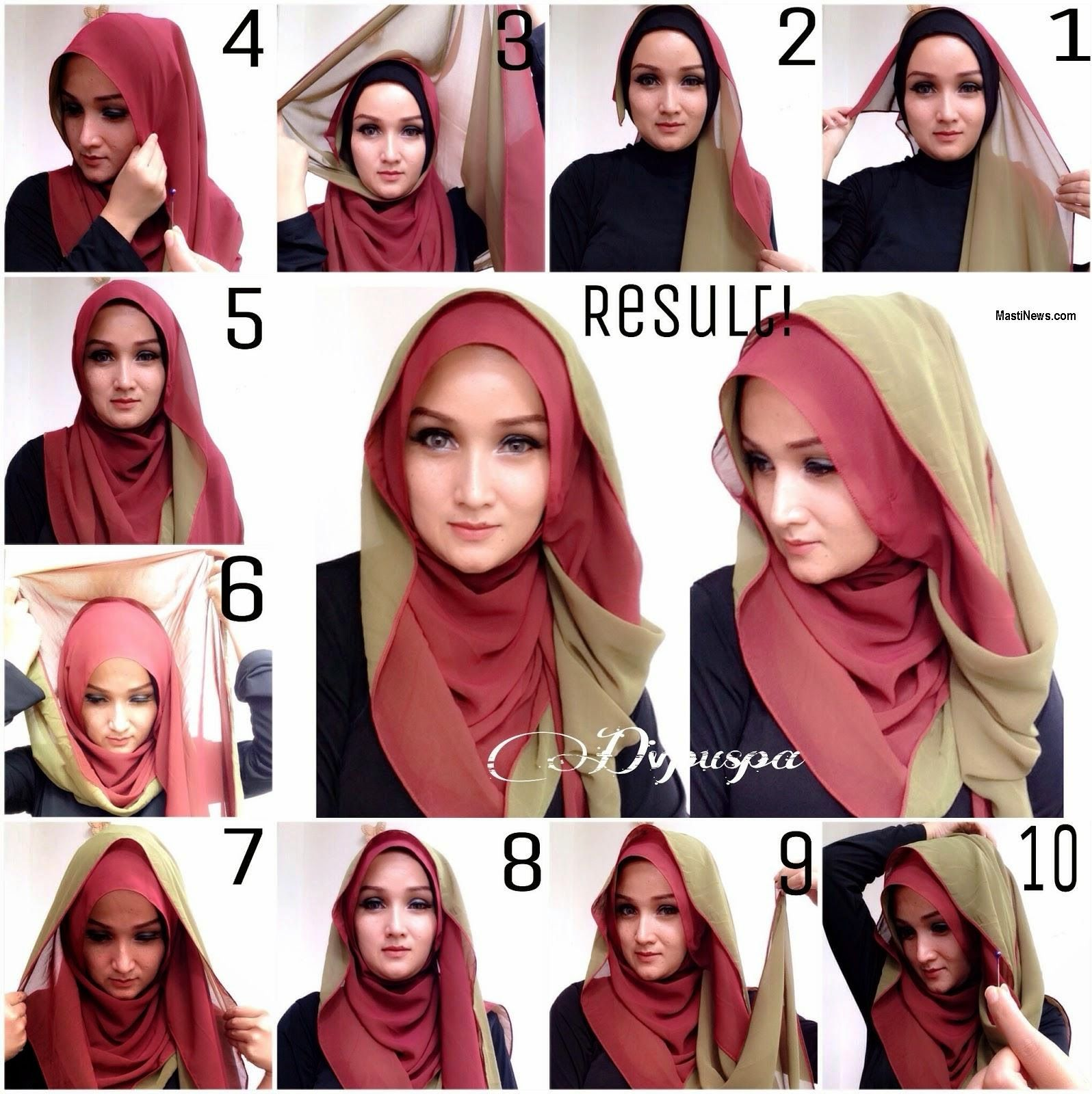 beautiful double layer hijab tutorial - style hunt world | makeup