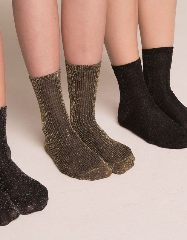 Ladies Pretty Lurex Glitter Socks Anklets Dancer Gold Silver sparkle pop socks