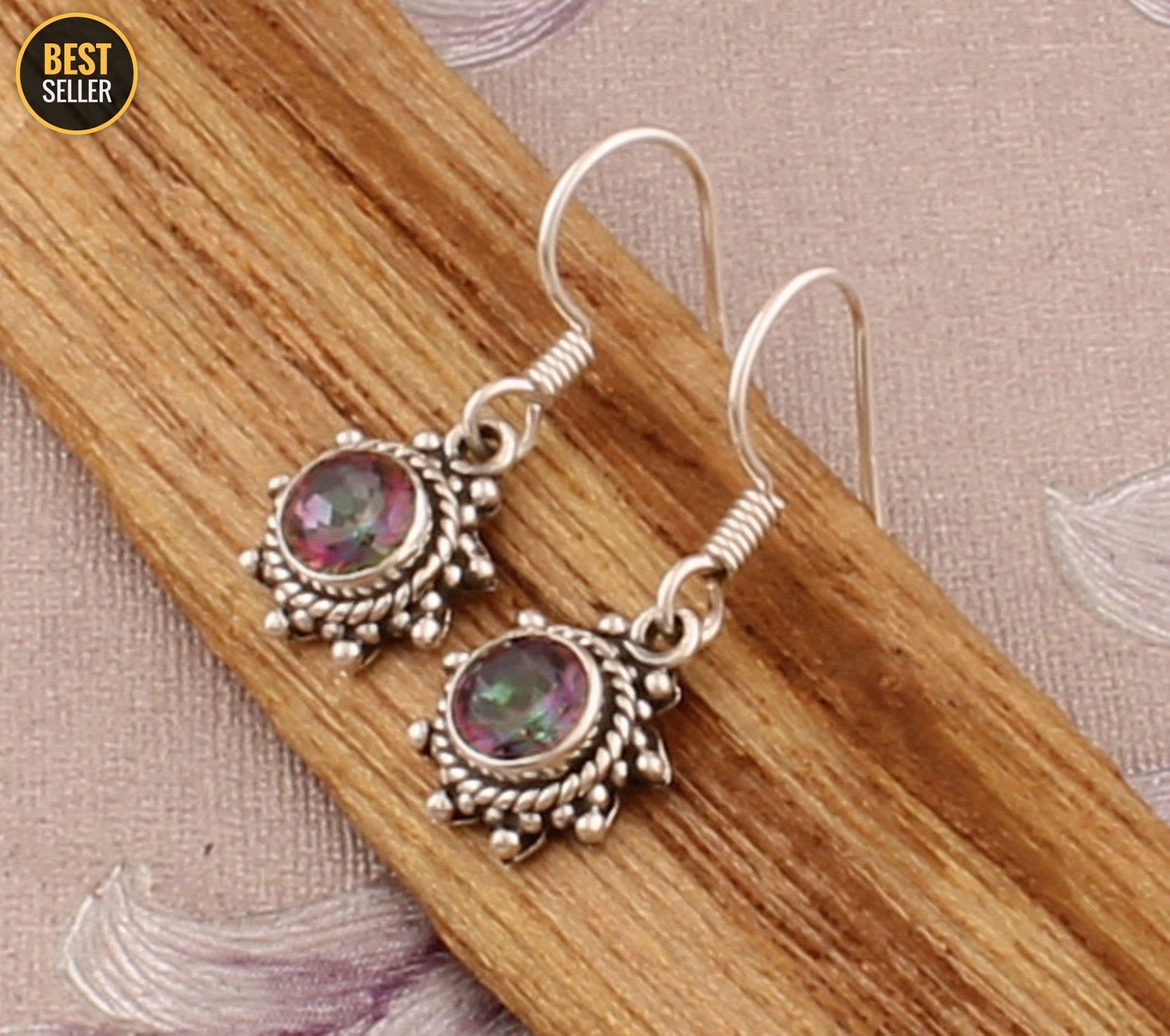 Real Pink Jade Top Quality Gemstone Handmade Earring Cabochon Stone Boho Earring 925-Antique Silver Earring Etsy Cyber Valentine/'s Day Gift