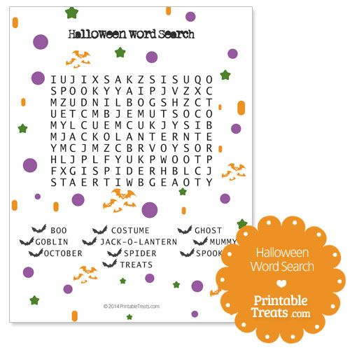 Free Easy Halloween Word Search PDF from PrintableTreats.com ...