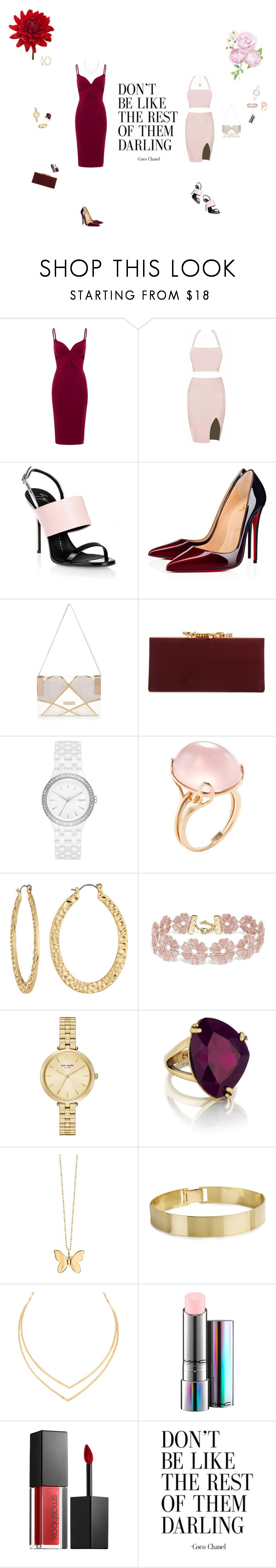 """Chicks before d*cks"" by fuffa ❤ liked on Polyvore featuring Giuseppe Zanotti, Christian Louboutin, River Island, Jimmy Choo, DKNY, Goshwara, Fragments, BaubleBar, Kate Spade and Chloe + Isabel"