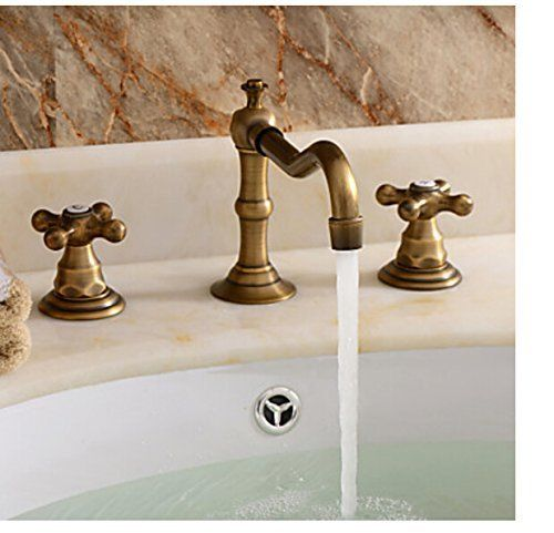 Rozinsanitary Widespread Antique Brass Deck Mounted Bathroom Tub Faucet Sink Mixer Tap 2 Antique Brass Bathroom Faucet Brass Bathroom Faucets Bathroom Faucets