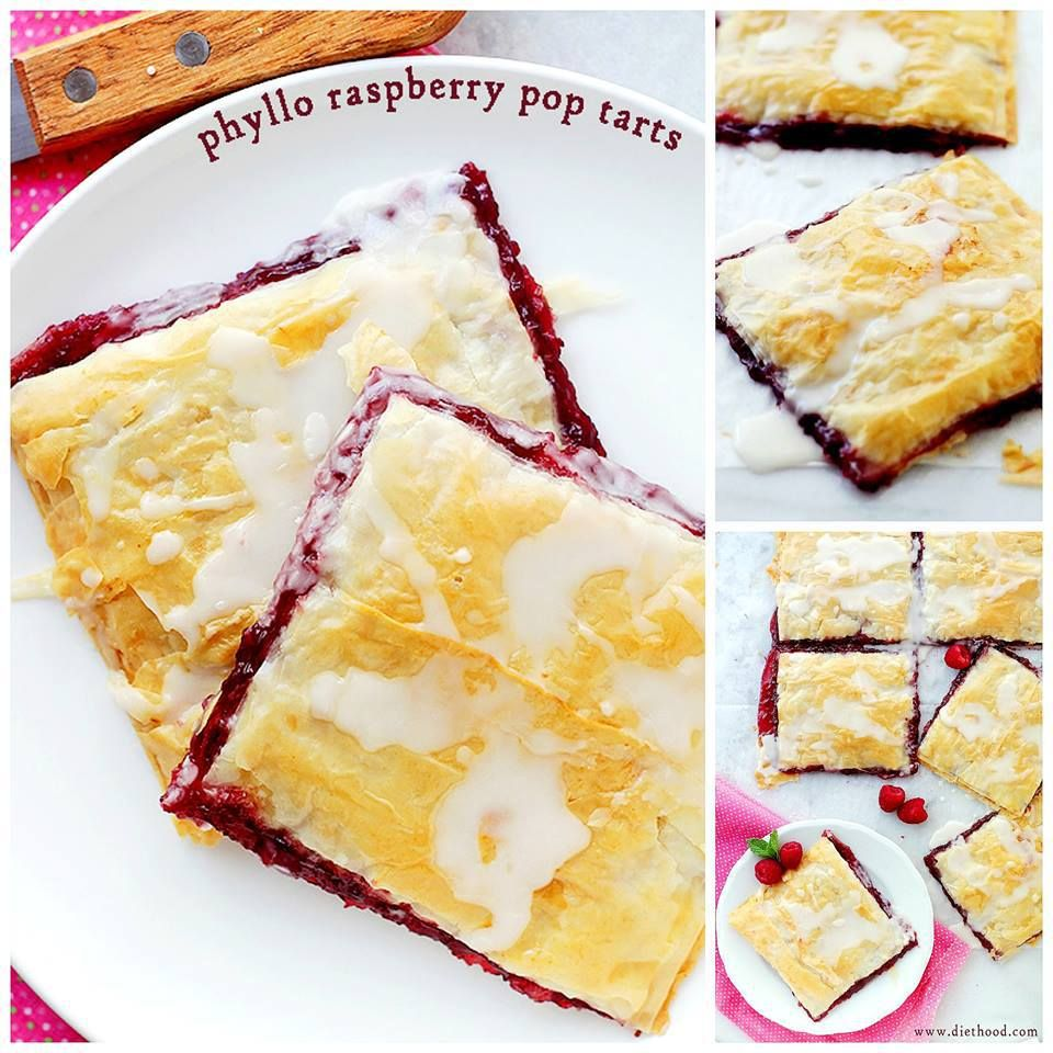 ❤️PHYLLO RASPBERRY POP TARTS WITH VANILLA GLAZE ❤️ Layers of Phyllo Sheets filled with Raspberry Jam and topped with a sweet Vanilla Glaze.