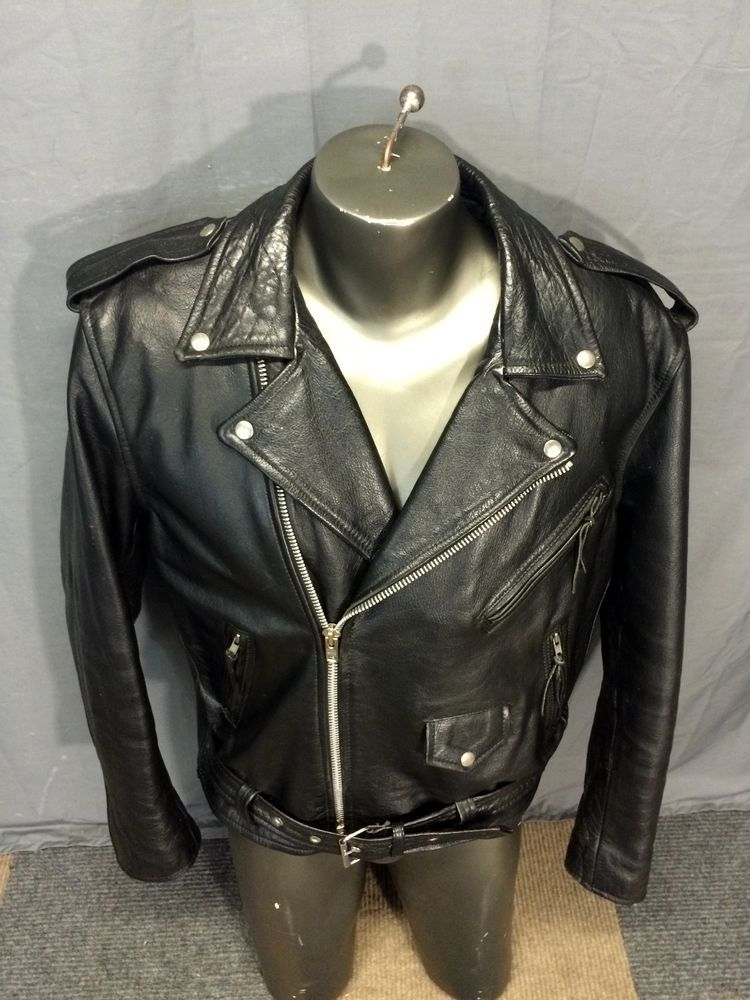 VINTAGE 90s PHOENIX BLACK THICK LEATHER MOTORCYCLE BIKER CHOPPER JACKET Sz 46 XL #Phoenix #Motorcycle