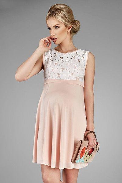 Elegantné čipkované šaty pre tehotné ružovej farby  804bebe15fb