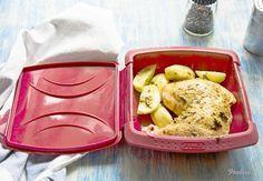 Pollo y patatas en microondas. 10 minutos