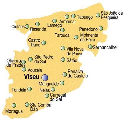 Mapa Do Distrito De Viseu Portugal Portugal Mapa Plano De Viagem