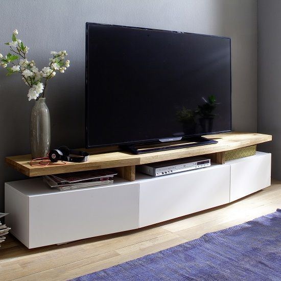 Alexia Wooden Tv Stand In Knotty Oak And Matt White